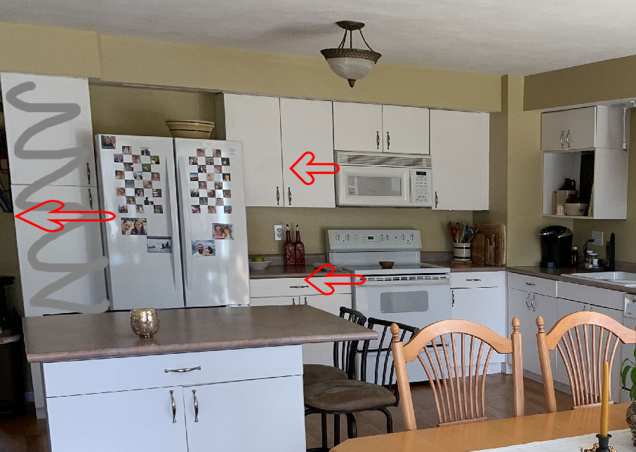 Marked up photo of kitchen redesign
